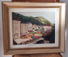 Belle Huile Sur Panneau Signée M. Gaultier 51 - Intérieur De Village - Oils