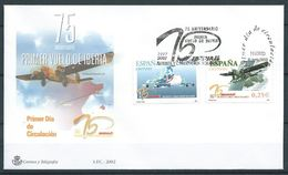 SPANIEN ESPAGNE SPAIN ESPAÑA 2002 AIRPLANES AVIONES SET OF 2V FDC ED 3907-08 YV 3475-76 MI 3755-56 SG 3877-78 SC 3170-71 - FDC