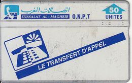 MOROCCO(L&G) - Transfer To Call, O.N.P.T. Telecard 50 Units, CN : 412B, Used
