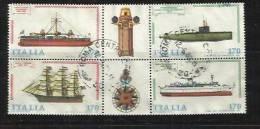 ITALIA REPUBBLICA ITALY REPUBLIC 1979 COSTRUZIONI NAVALI NAVI SERIE COMPLETA COMPLETE SET BLOCCO TIMBRATO BLOCK USED - Blocchi & Foglietti