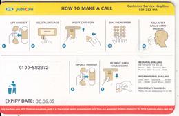 UGANDA(chip) - How To Make A Call, MTN Publicom Telecard Ssh 10000, Chip GEM3.3, Exp.date 30/06/05, Used - Uganda