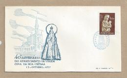 Portugal FDC 40º Aniversario Aparição Fatima  Selo Dia Da Mãe 1.50 Esc. Emissão 1956/58 - FDC