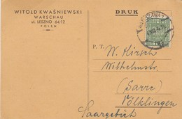 POLOGNE. POSTCARD. 6 8 1941.  WARZAWA TO VOLKLINGEN SAARGEBIET GERMANY. - 1939-44: World War Two