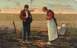 [DC10030] CPA - AGRICULTURA - BRACCIANTI IN PREGHIERA - CONTADINI - Viaggiata 1904 - Old Postcard - Agricoltura