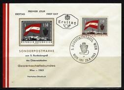ÖSTERREICH - FDC Mi-Nr. 1132 - Bundeskongreß Des Österreichischen Gewerkschaftsbundes (ÖGB) Stempel WIEN (10) - FDC