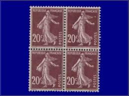 Qualité: XX – 139, Bloc De 4: 20c. Brun Semeuse Camée. Cat Price €: 44 - Stamps