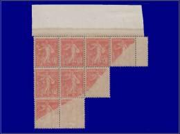 Qualité: XX – 138 M, Bloc De 9 Recto-verso Dont 4 Partiels: 10c. Rouge. Cat Price €: +135 - Stamps