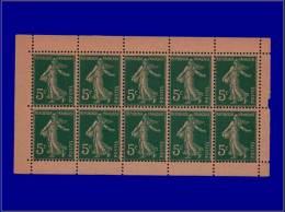 Qualité: XX – 137 D, Panneau De Carnet De 10 Timbres, Papier GC Chamois: 5c. Vert Semeuse. Cat Price... - Stamps