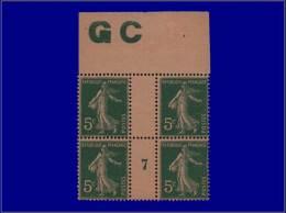 """Qualité: XX – 137, Bloc De 4, Millésime """"7"""", Manchette CG Chamois: 5c. Vert Semeuse. Cat Price... - Stamps"""