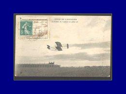 """137, Sur Porte Timbre Brun (petits Défauts) """"Port Aviation 1909"""", Sur Cp Fête De L'aviation. - Stamps"""