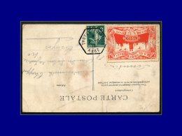 """137 Sur Cp """"Troyes Circuit De L'Est"""" (coupure), Cad Hexagonal """"Troyes Aviation 7/8/10"""" + Vignette Rouge. - Stamps"""