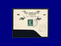 """137, Sur Enveloppe (incomplète) Illustrée, Cad """"Bordeaux Aviation Beaudesert13/9/10"""". - Stamps"""