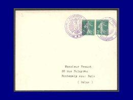 """137, Paire Sur Enveloppe, Oblitération De Fortune Cac. Violet """"Masmunster Bugermeister Aigle &... - Stamps"""