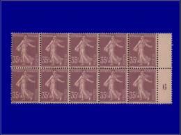 """Qualité: XX – 136, Exceptionnel Bloc De 10, Millésime """"6"""" à Droite: 35c. Violet Semeuse... - Stamps"""