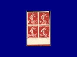 Qualité: (X) – 134 C, Bloc De 4, Type I, Non Dentelé, Bdf, Signé Brun: 10c. Semeuse Sol.... - Stamps