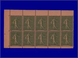 Qualité: XX – 130 D, Feuillet De 10, Type V, Carnet Papier GC: 15c. Semeuse Lignée. Cat Price... - Stamps