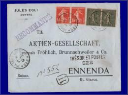 130 + 138, 2 Paires Sur Enveloppe Recommandée, Cachet Trèsor Et Poste 528, (Smyrne) 3/10/19. - Stamps