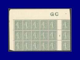 """Qualité: XX – 130, Bloc De 18 Millésime """"8"""", Manchette GC Grisâtre: 15c. Lignée.... - Stamps"""