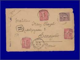 129 (x3) + 131, Sur Enveloppe Rec. Pour La Bosnie. Départ Bône Algérie 19/2/07. - Stamps