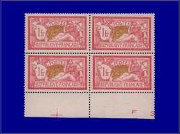 Qualité: XX – 121, Bloc De 4, Bon Centrage: 1f. Merson. Cat Price €: 880 - Stamps