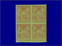 Qualité: XX – 96 B, Bloc De 4 Non Dentelé: 20c. Sur Vert (gomme Irrégulière). Cat... - Stamps