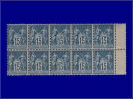 Qualité: XX – 90, superbe bloc de 10, Bdf: 15c. bleu Sage. Cat Price €: +670
