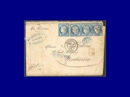 """60 (x4), lettre du 18/4/74 pour l'Uruguay via Bordeaux, taxée """"10 centimos""""."""