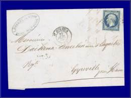 14 Ad, sur lettre du 27 Juillet 1855. (Maury). Cat Price €: 235