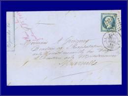 """14 Ba, sur lettre oblitérée """"A5 """", bleu sur vert. Cat Price €: 330"""