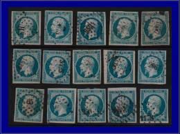 Qualité: O – 10, 25c. bleu, 15 exemplaires, tous 1° choix. Cat Price €: 750