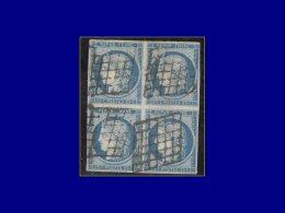 Qualité: O – 4, bloc de 4, marges complètes, oblitération grille: 25c....