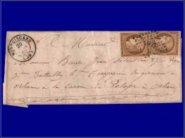 1 (x2), marges touchées, enveloppe, affranchissement 20c, cachet GC 2097 Montgiscard 20/1/52 pour...