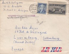 USA. COVER.  19 9 1955. DETROIT TO LUXEMBOURG RETURNED - Stati Uniti