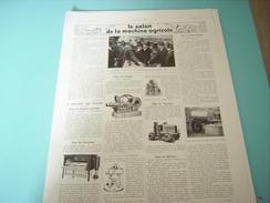 ANCIENNE PUBLICITE LE SALON DE LA MACHINE AGRICOLE  1934 - Tracteurs