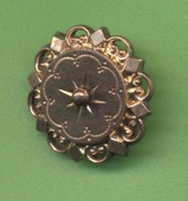 ANCIENNE BROCHE EN POMPONNE -  Diametre 22mm -  6 Scans - Brooches