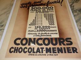 ANCIENNE PUBLICITE CONCOURS CHOCOLAT-MENIER  1934 - Posters