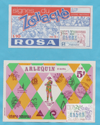 2 BILLETS DE LA LOTERIE NATIONALE ROSA ZODIAQUE 1970 ET ARLEQUIN 1980 - Billets De Loterie