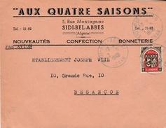 """Enveloppe Commerciale 1948 / """"Aux Quatre Saisons"""" / Sidi Bel Abbes / Oran / Algérie - Autres"""