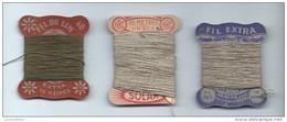 Fils/Mercerie/ 3 Petites Bobines De Fils/SOLAR Lin/AGACHE Crespel/Filde Lin/vers 1920-1930 ?   MER40ter - Autres