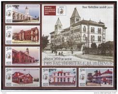 India Miniature MNH 2010, Heritage Post Buildings, Monument, Pillar Box, Flag,