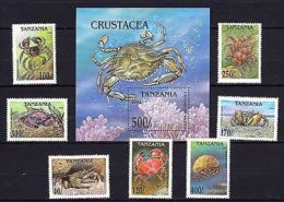 Tanzania 1994 Marine Life Crabs MNH Mi.1798-804 Bl.225 --(cv 11) - Marine Life