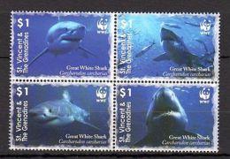 St. Vincent 2006 Marine Life Sharks WWF MNH - Marine Life