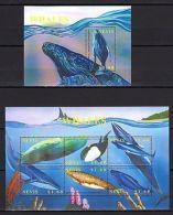 Nevis 2002 Whales MNH Mi.1782-87 Bl.212 - Marine Life
