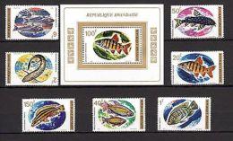 Rwanda 1973 Fish Fauna MNH Mi.577-84 Bl.33 - Marine Life