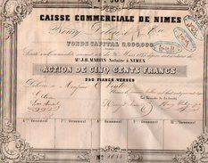 VP10.073 - 1847 - Action De La Caisse Commerciale De NIMES - NOURY, DELEUZE & Cie - Bank & Insurance