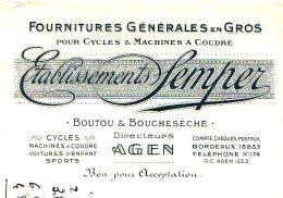 SEMPER (Boutou & Boucheseche, Directerus)  Fournitures Cycles & Machines A Coudre  AGEN - Lettres De Change