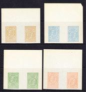 Belgie 1891 Telefoonzegels 4w Kopstaand (brede Boord) Proefdrukken, Zonder Waardeaanduiding, Zonder Gom (35648) - Telefoonzegels
