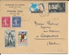 1938 - VIGNETTE AVIATION MERMOZ Sur ENVELOPPE De CHUSCLAN => CARPENTRAS - Aviation