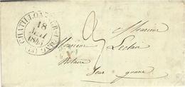 """1845- Lettre De Chatillon-sur-Loing  ( Loiret ) Avec Cad  """" Route De Genève *  Bleu Au Dos - Marcophilie (Lettres)"""