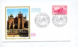 Lettre  Fdc 1972 Saint Brieuc Congres Cathedrale - 1970-1979
